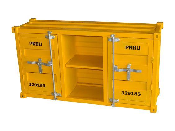 Contenedor  amarillo con dos puertas y dos estantes. Información, precios mayoreo y minoristas  www.estudiosdecoracion.com