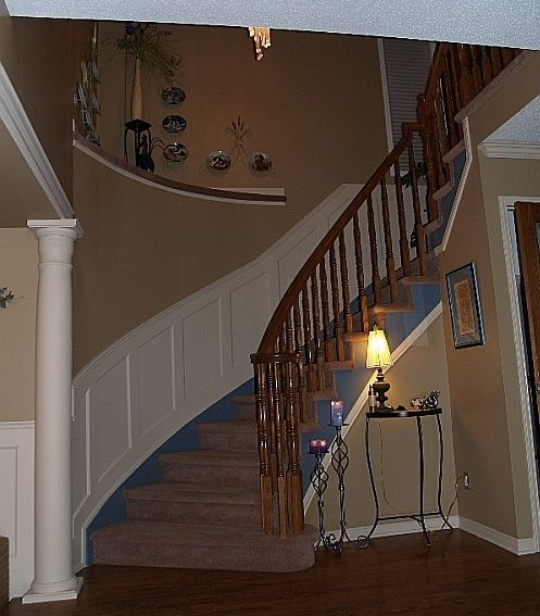 Best Wall Paneled Wainscoting On Curved Stairs Raised Patio 400 x 300