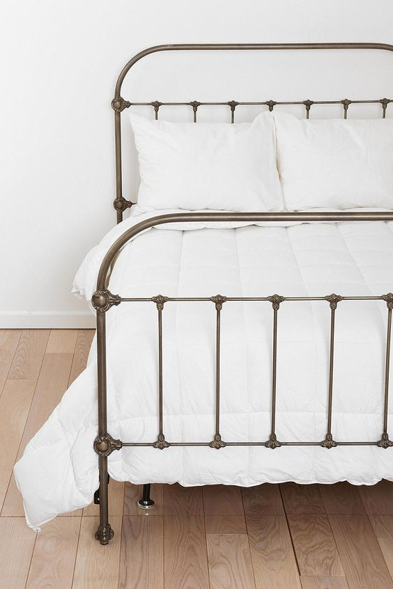 My dream iron wrought bed, so beautiful. This one is actually made of metal to emulate brass it seems. From Plum & Bow, sold by Urban Outfitters (in the States only).: