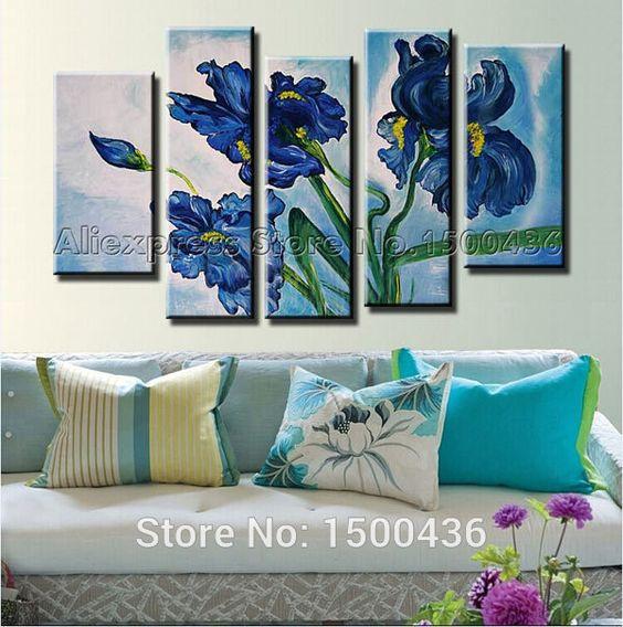 Cheap iris flor azul pintura al leo hechas a mano de 5 - Cuadros minimalistas modernos lo ultimo arte ...