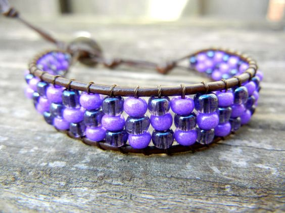 Beaded Leather Single Wrap Stackable by BetsyGraceJewelry on Etsy