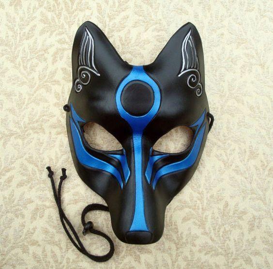 Black and Blue Okami Kitsune Mask... Japanese Fox Leather ...