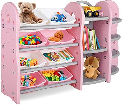 Buy Potby Kids Toy Storage Organizer 4 Layer Children Play Collection Shelves Bookshelf Corner Rack 8 Plastic Drawers Bins Girls Boys Bedroom Playroom In 2020 Kid Toy Storage Toy Storage