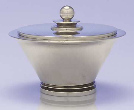 Sugar Bowl With Lid in the Pyramid (sterling, 1927, Hollowware) pattern by Georg Jensen-Denmark
