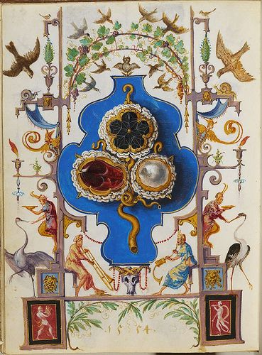 """""""The Jewel Book"""" by Hans Mielich - The paper and parchment manuscript displays more than one hundred gouache sketches of seventy pieces of jewelery belonging to Duchess Anna and the Duke Albrecht V of Bavaria. Mielich spent at least two years preparing the sketches and the work was completed in 1555.:"""