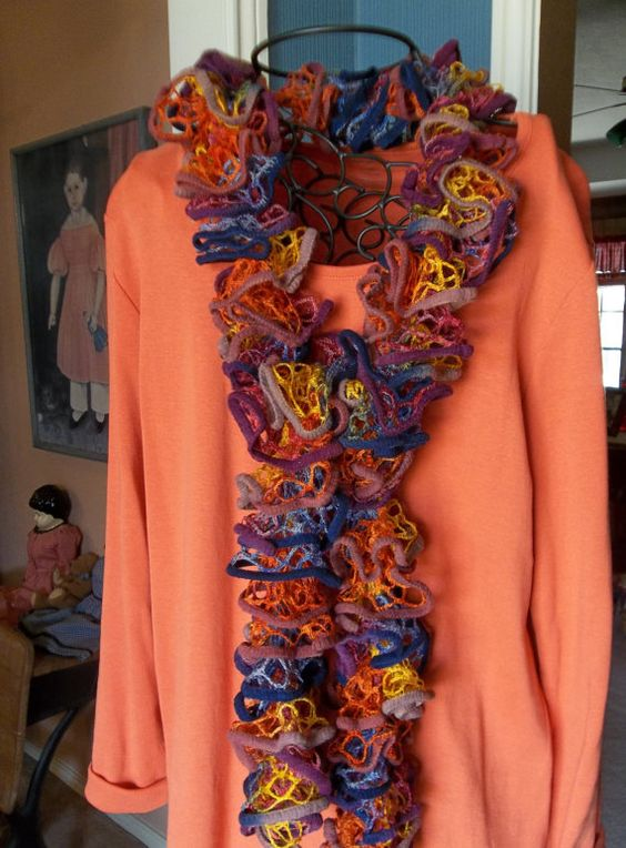 MultiColor Frilly Scarf by FluffyGoatFeathers on Etsy