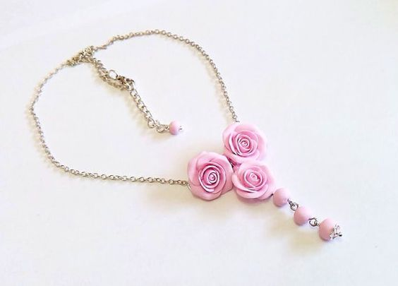 Pink Rose flower necklace, delicate necklace for her gifts, Spring Jewelry, Wedding Jewelry Gift
