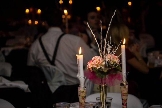 Dobbyn New Year's Eve Wedding | The candlestick centerpieces added a classy touch to this winter wedding.