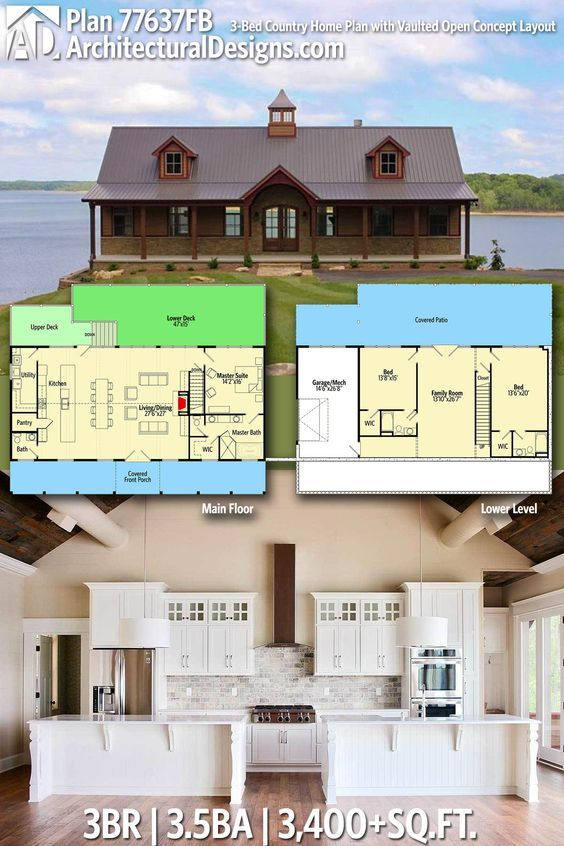 Plan 77637fb 3 Bed Country Home Plan With Vaulted Open Concept Layout Lake House Plans Country House Plans Barn House Plans