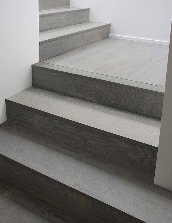 Gray wood stairs that turn a corner stain color - Stairs with tile and wood ...