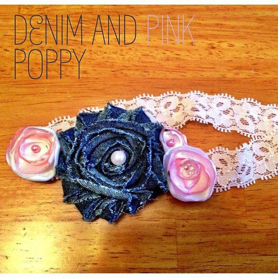 Denim and Pink Poppy flower headband by PoppyandPearls on Etsy, $9.00