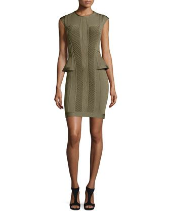Open-Back+Peplum+Bandage+Dress,+Green+by+Herve+Leger+at+Neiman+Marcus.