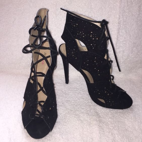Just Fab Black Heels Sz 9 Black lace up cut out booties by Just Fab. Great condition JustFab Shoes Heels