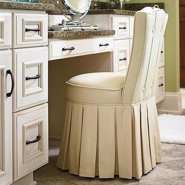 Elena vanity stool traditional bar stools and counter stools frontgate fun furnishings - Counter height vanity chair ...