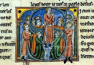 """A depiction of the coronation of Godfrey de Bouillon in the work Historie d'Outremer by William of Tyre.  """"Outremer"""" or """"Oversees"""" was a common name for the lands across the Mediterranean."""