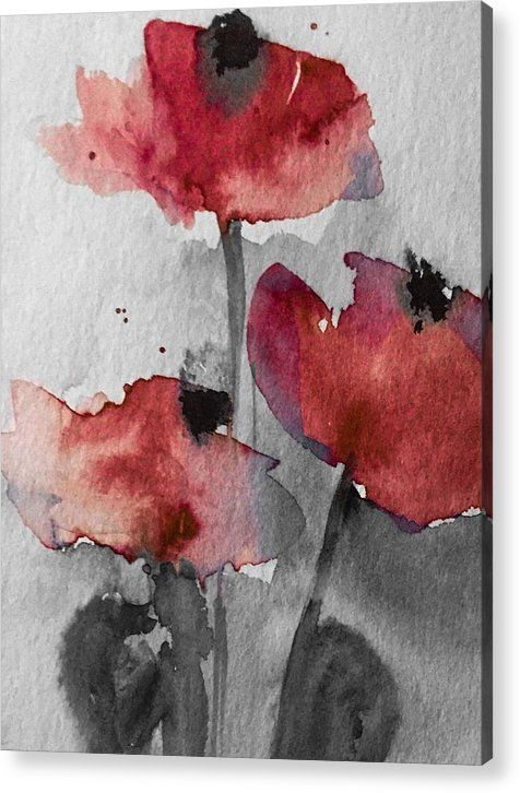 Poppy Acrylic Print Featuring The Mixed Media Poppy By Britta Zehm Blumen Aquarell Aquarell Blumen