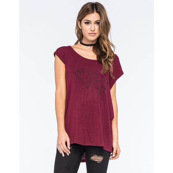 SEA GYPSIES Rose Swirl Womens Tee ($20) ❤ liked on Polyvore featuring tops, t-shirts, burgundy, oversized v neck t shirt, burgundy top, rayon tops, v neck tee y purple top
