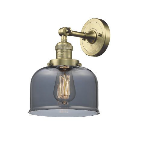 Innovations Lighting 203 Ab G73 Led Large Bell Antique Brass Led Wall Sconce With Smoked Glass Bellacor Innovations Lighting Sconces Adjustable Sconce