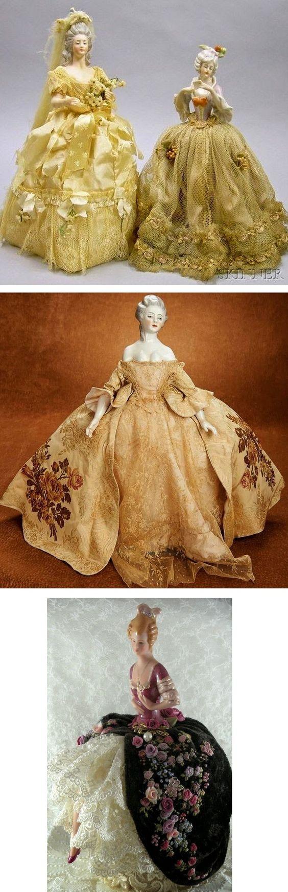 Idea for doll pincushion - love the pretty gowns! :)