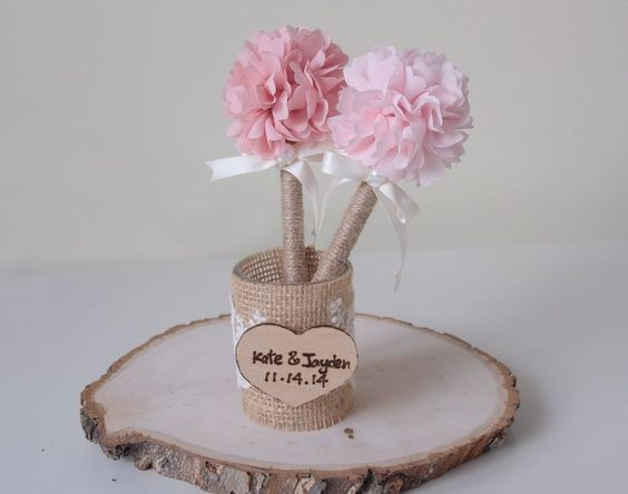 Rustic Handmade Burlap Wedding Guest Book Pen Holder in Home & Garden | eBay