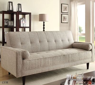 NEW SHANA MODERN SAND MORGAN FABRIC ADJUSTABLE FUTON SOFA BED w/ PILLOWS