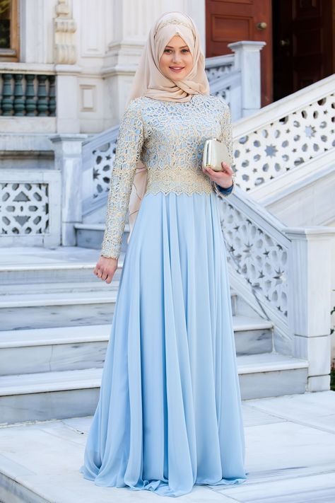 Resm Gold Dantelli Buz Mavisi Tesettur Abiye Elbise Sedanur Collection Pakaian Wanita Wanita Gaun Pesta