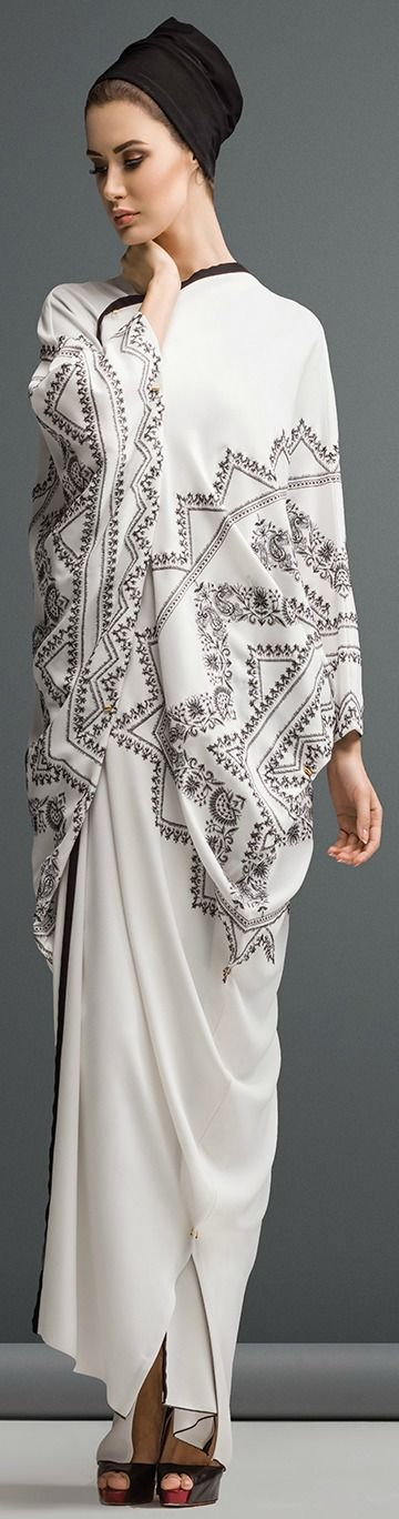 Mauzan abaya Dubai..Work  : Kashmiri Design Embroidery Fabric : White Crepe