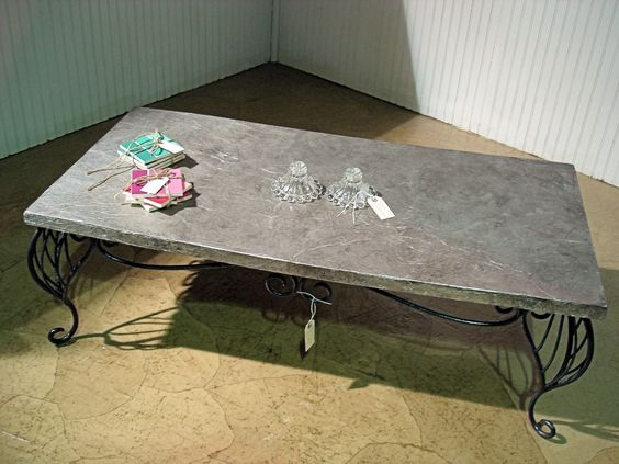 Fun Metallic Finish Coffee Table Top Made With Tin Foil