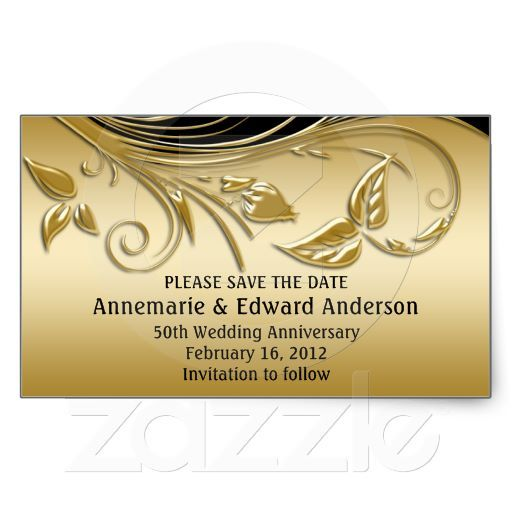 Golden Save The Date For Wedding Invitation Wedding: Sticker - 50th Wedding Anniversary Save The Date