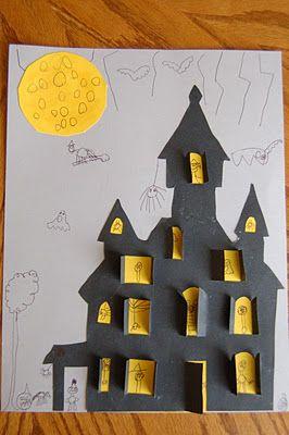 Halloween . Hacemos castillo con ventanas q se abren. ¿Qué hay detrás? Creatividad