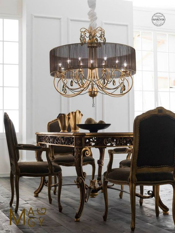 Amazing iron chandelier in golf leaf decoration handmade  Crystals and pearl in brown color from Swarovski Brown shade #eurolampart #lighting #luxurylighting #luxuryhome #homecollection #swarovski www.eurolampart.it