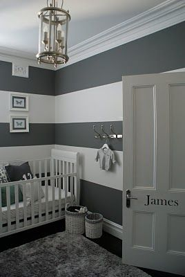 OTHER ROOM, LOVE THE STRIPES AND GRAYS Grey nursery - I would have to add touches of another color but I love the grey striped walls!: