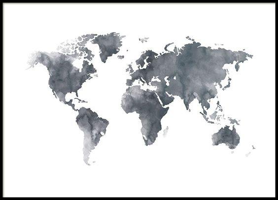 Wereldkaart met waterverf in donker grijs. Vind meer wereldkaarten op www.desenio.nl