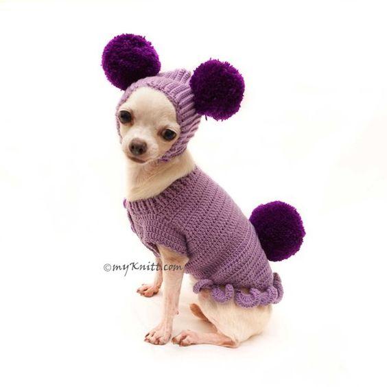 Purple Dog Clothes, Cute Bunny Dog Clothes with Pom Pom Dog Hat, Knit Bunny Dog Sweater, Dachshund C