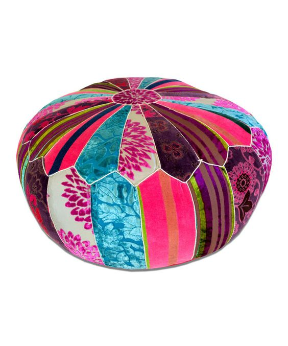 Pink & Brown Patchwork Embroidered Pouf by Imports Décor #zulily #zulilyfinds