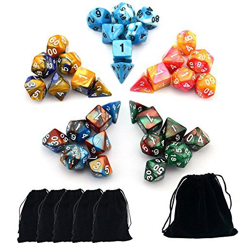 Smartdealspro 7 x 7-Die Series Two Colors Dungeons and Dragons DND RPG MTG Table Games Dice with Free Pouches
