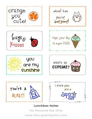 Free printable lunchbox notes for kiddies.