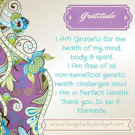 Ultimate Health -I AM Grateful for the health of my mind, body & spirit. I Am free of all non-beneficial genetic health challenges now! I Am in Perfect Health! Thank you. So be it. Namaste