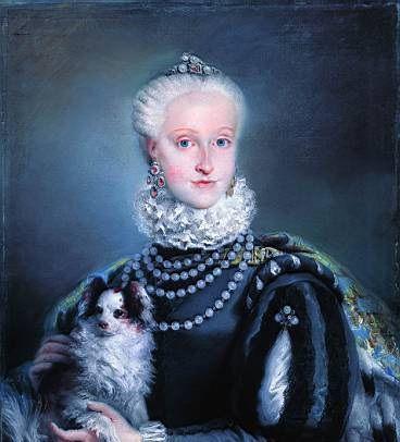 Portrait of Infanta Maria Josefa of Spain (1744-1801), 1763, ( and her pooch) by Lorenzo Baldissera Tiepolo (1736–1776):