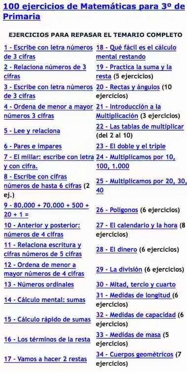 100 ejercicios de Matemáticas para 3º de Primaria
