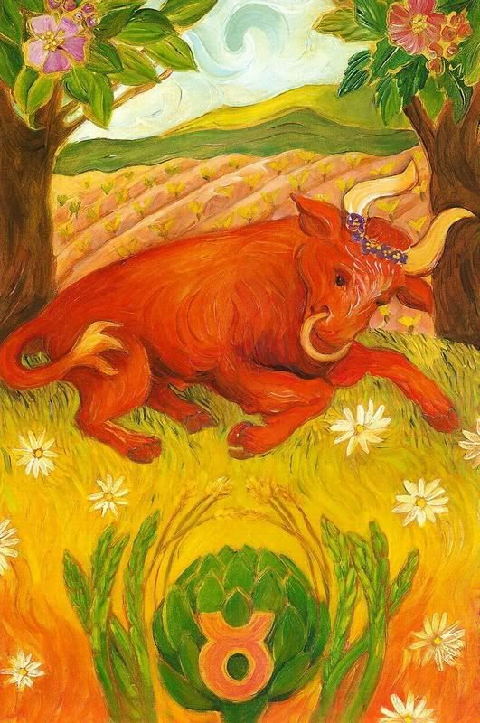 Taurus:Taurus  Fixed earth; ruled by Venus   Sensual, pleasure-seeker, steadfast, strives for security   Sees red when provoked for a long time