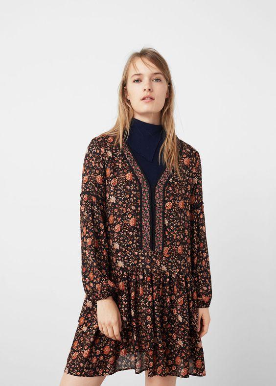 Vestido estampado floral -  Mujer   MANGO España