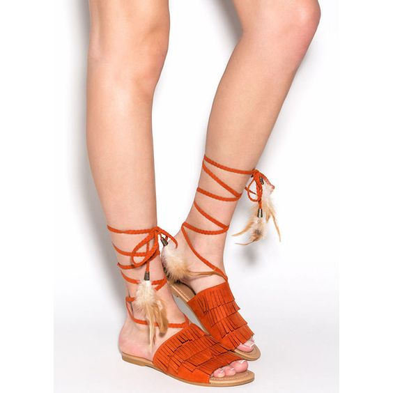 Wind Song Faux Suede Sandals BURNTORANGE ($14) ❤ liked on Polyvore featuring shoes, sandals, red, bohemian shoes, red fringe sandals, beaded shoes, tie sandals and woven shoes