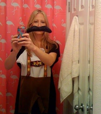 Oktoberfest Party ideas. Have your guests come dressed as famous Germans. I just pinned my son's leiderhosen Halloween costume to a cute black dress because I hate dressing up.
