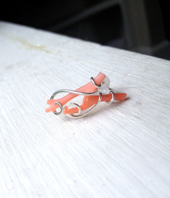 Tangerine coral branch post earrings tension set in hand forged polished sterling silver