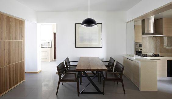 #Salleamanger de style #moderne avec #suspendu. / #Modern #diningroom with #pendant.