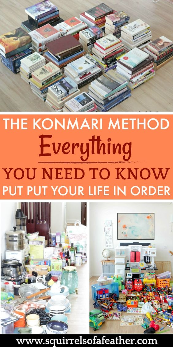 Must-read post on the KonMari method of decluttering. Love all the do's and don'ts for decluttering the right way. #decluttering #declutterandorganize #konmarimethod #organizationtips #squirrelsofafeather