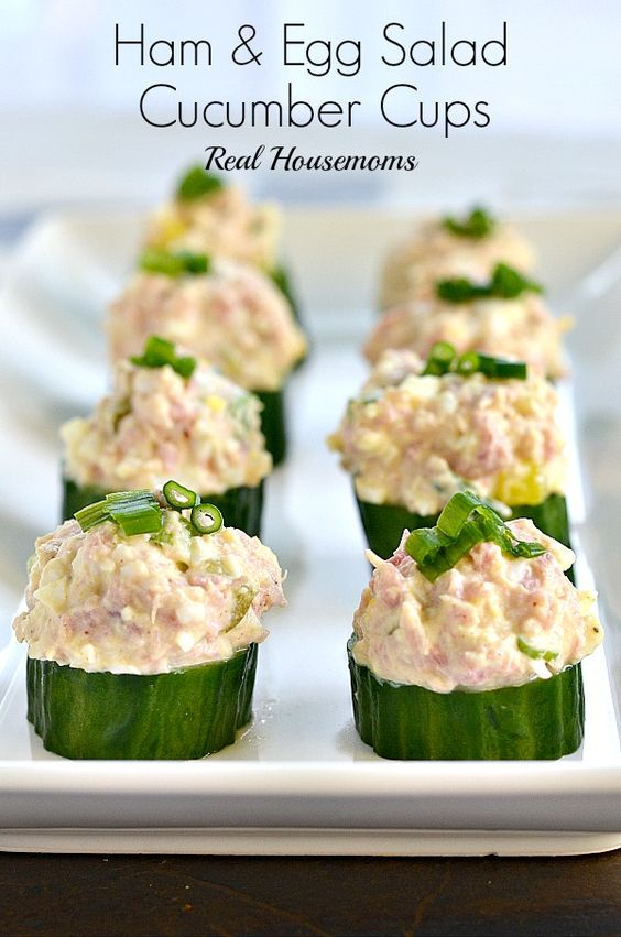 Ham and Egg Salad Cucumber Cups | Real Housemoms | These are the perfect Easter or Spring appetizer!