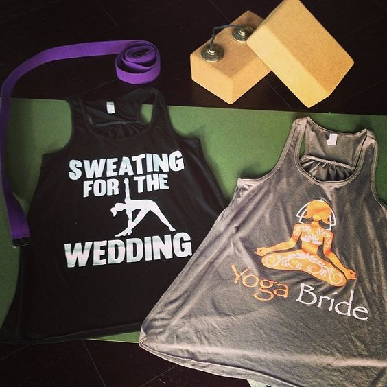 "Adorable!   Two tank tops from our ""Sweating for the Wedding"" Collection! #yoga #bridetobe #wedding #workout #namaste"