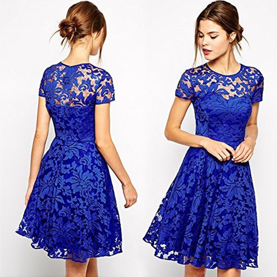 Its a women lace halter style dress for your special wears as it is covered with full lace, lace is decorated with flowers all around covering beautifully the whole dress. Be the beauty with this dress for party-perfect cocktail and night out dresses. It is till knee length with with simple round neck.
